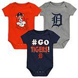 Newborn & Infant Navy/Orange/Gray Detroit Tigers Born To Win 3-Pack Bodysuit Set
