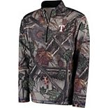 Men's Majestic Camo Texas Rangers Sweat and Determination Half-Zip Pullover Jacket