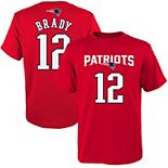 Youth Tom Brady Red New England Patriots Mainliner Player Name & Number T-Shirt
