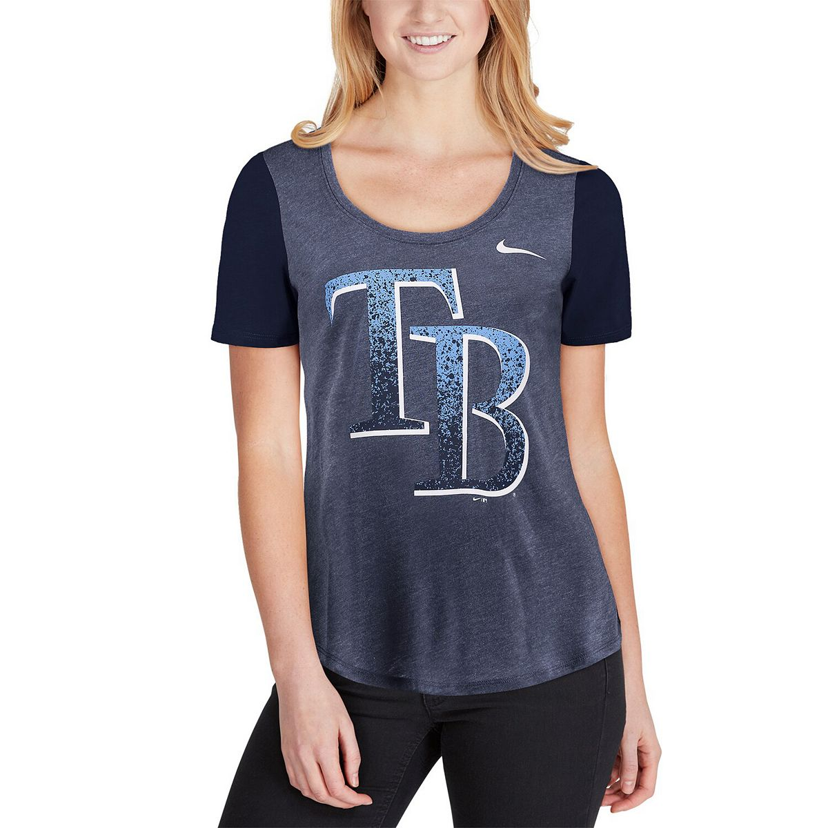 Women's Nike Navy Tampa Bay Rays Tri-Blend Scoop Neck T-Shirt OwamS