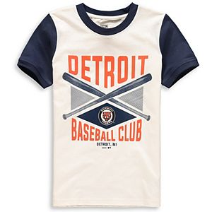 Youth Cream/Navy Detroit Tigers Timeless Pastime Ringer T-Shirt