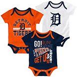 Newborn Navy/Orange/White Detroit Tigers 3-Pack Newest Rookie Bodysuit Set