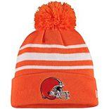 Men's New Era Orange Cleveland Browns Basic Stripe Cuffed Pom Knit Hat