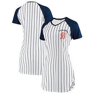 Women's Concepts Sport White Detroit Tigers Vigor Pinstripe Nightshirt