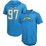 Men's Majestic Threads Joey Bosa Powder Blue Los Angeles Chargers Name & Number Tri-Blend Hoodie T-Shirt
