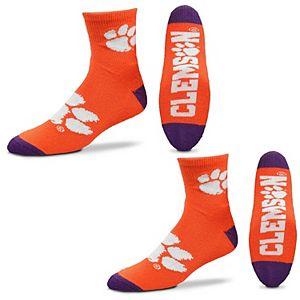 Men's For Bare Feet Clemson Tigers Quarter-Length Socks Two-Pack Set