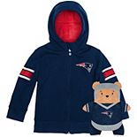 Toddler Cubcoats Navy New England Patriots 2-in-1 Transforming Full-Zip Hoodie & Soft Plushie