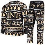 Men's Black New Orleans Saints Holiday Wordmark Ugly Pajama Set