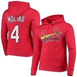Men's Majestic Yadier Molina Red St. Louis Cardinals Player Name & Number Pullover Hoodie