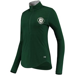 Women's Under Armour Green Oakland Athletics Charged Cotton Half-Zip Pullover Jacket