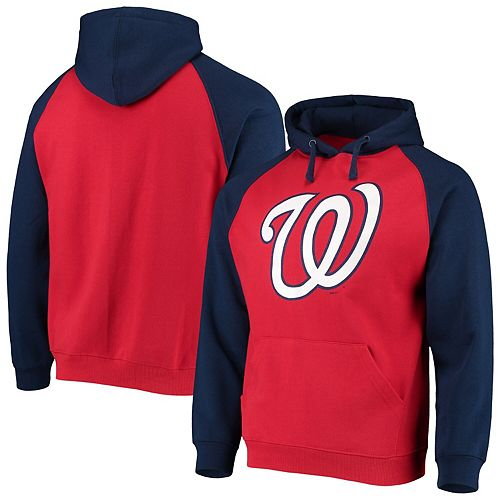 Men's Stitches Red/Navy Washington Nationals Color Block Raglan Pullover Hoodie