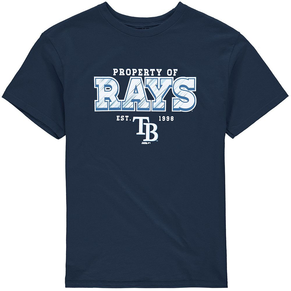 Youth Stitches Navy Tampa Bay Rays Property Of Team T-Shirt