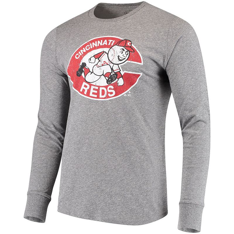 Men's Majestic Threads Heathered Gray Cincinnati Reds Cooperstown Collection Tri-Blend Long Sleeve T-Shirt, Size: Small, Grey