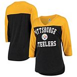 Women's Hands High Black/Gold Pittsburgh Steelers In the Zone 3/4-Sleeve V-Neck T-Shirt