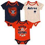 Newborn Navy/Orange/Cream Houston Astros Three-Pack Number One Bodysuit