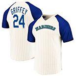Men's Majestic Ken Griffey Cream/Royal Seattle Mariners Career High Cooperstown Pinstripe Name & Number T-Shirt