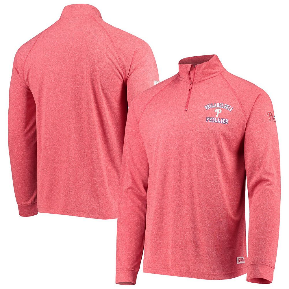 Men's Stitches Heathered Red Philadelphia Phillies Team Quarter-Zip Raglan Pullover Jacket