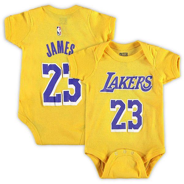 Newborn & Infant LeBron James Gold Los Angeles Lakers Name & Number Bodysuit