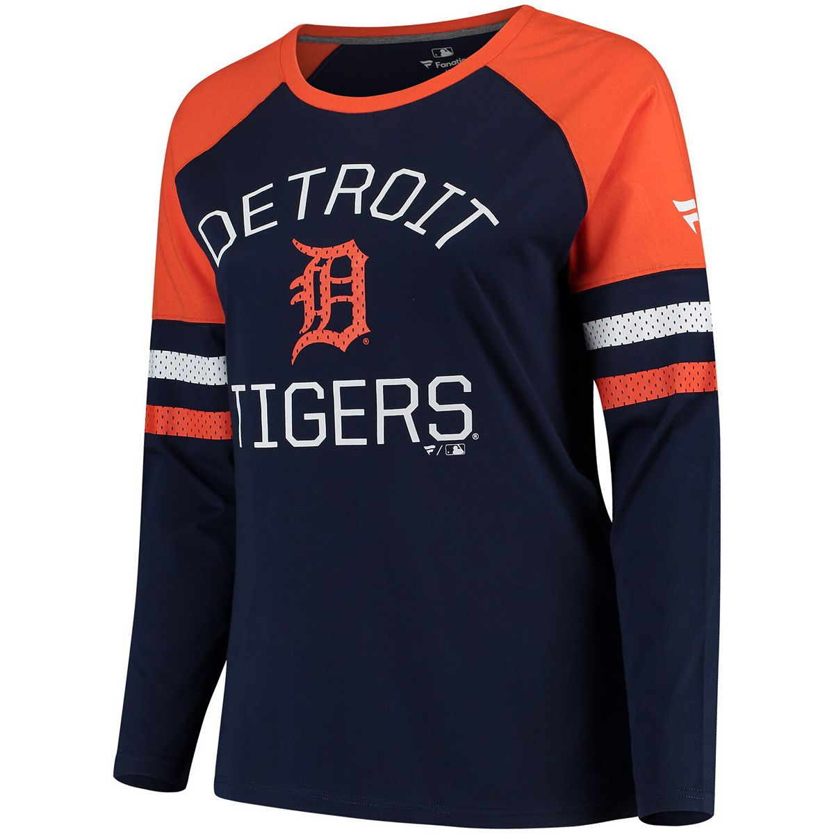 Women's Fanatics Branded Navy/Orange Detroit Tigers Plus Size Iconic Raglan Long Sleeve T-Shirt BhAAN