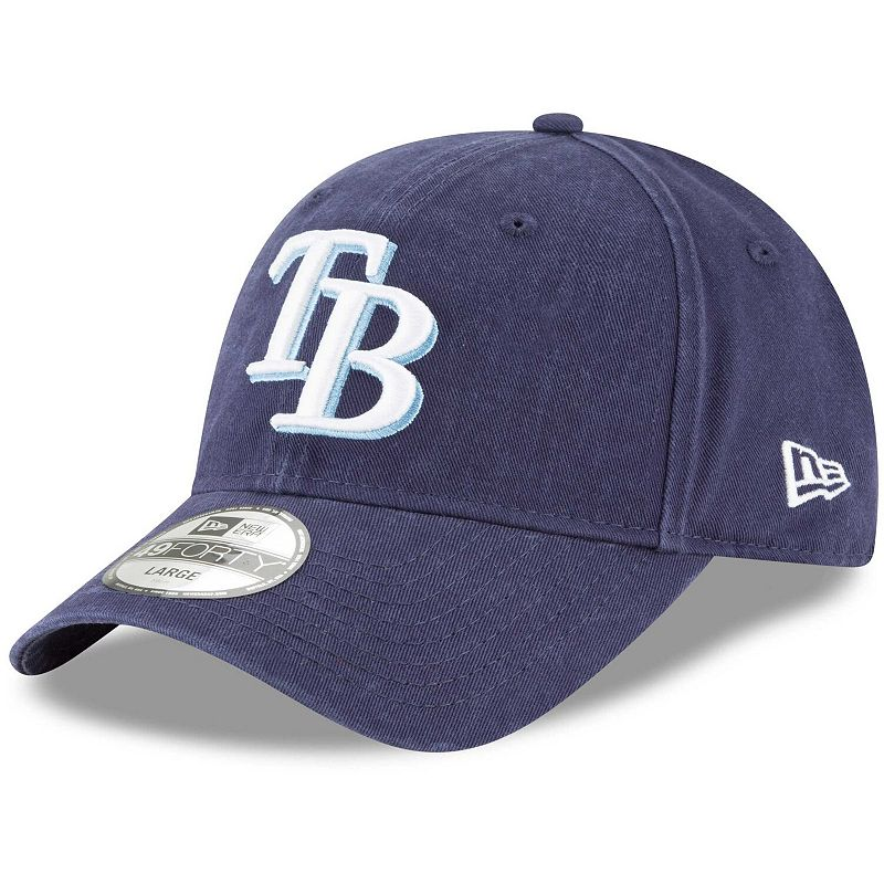 Men's New Era Navy Tampa Bay Rays Core Fit Replica 49FORTY Fitted Hat, Size: XS, Blue