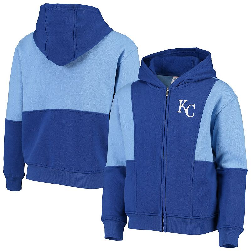 Youth Royal/Light Blue Kansas City Royals All That Full-Zip Hoodie, Boy's, Size: Youth XL