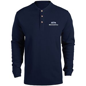 Men's College Navy Seattle Seahawks Maverick Thermal Henley Long Sleeve T-Shirt