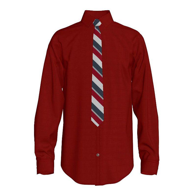 Boys 6-20 Van Heusen Button-Down & Tie Set. Boy's. Size: Medium 10-12. Dark Red
