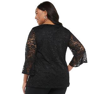 Plus Size Croft & Barrow® Floral Lace Top