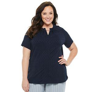 Plus Size Croft & Barrow® Ruffle Neck Short Sleeve Top