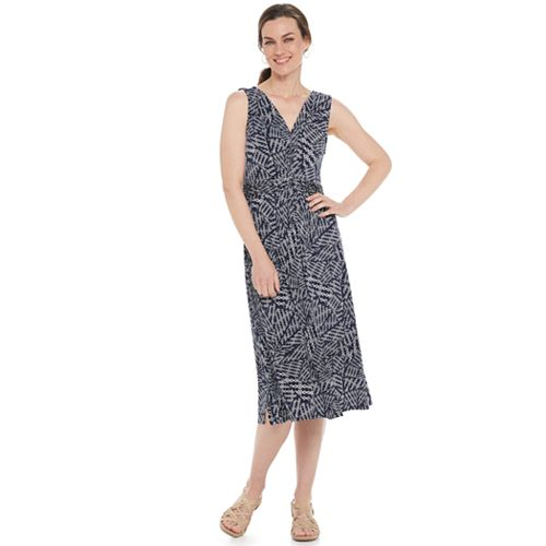 Women's Croft & Barrow® Print Twist-Front Midi Dress