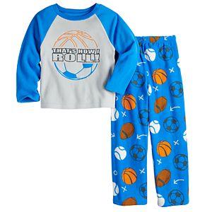 Boys 6-12 Up-Late 2-Piece Top & Bottoms Pajama Set