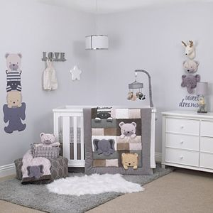 NoJo Play Day Pals 4 Piece Nursery Crib Bedding Set