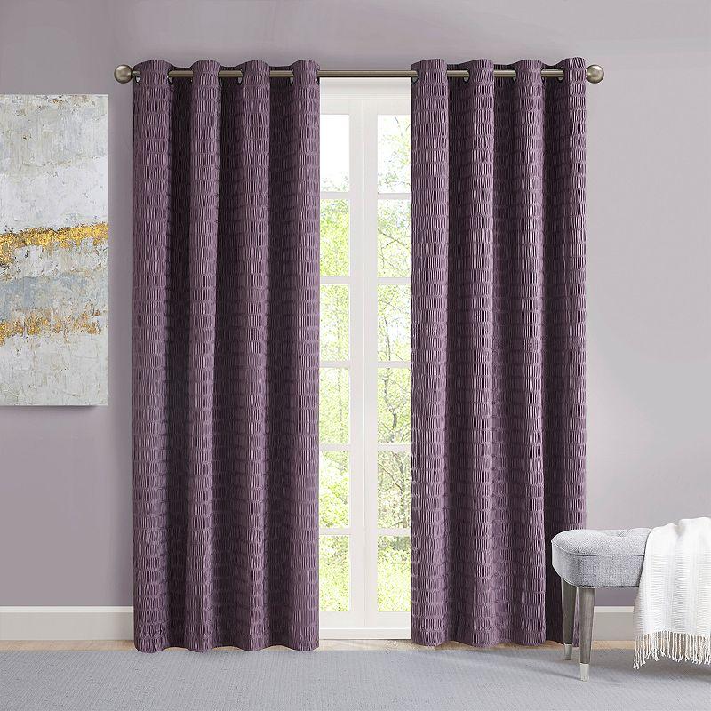 Madison Park Bassi Crinkle Matte Satin Window Curtain, Purple, 50X84