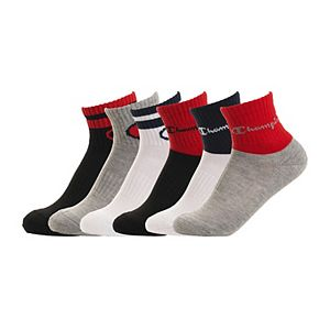 Boys 8-20 Champion 6-Pack Stripe Quarter Socks