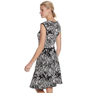 Women's Nina Leonard Floral Jacquard Sweater Dress