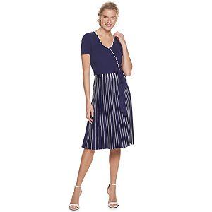 Women's Nina Leonard Scallop Edge Vertical Stripe Dress