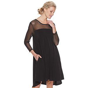 Women's Nina Leonard Sheer Trapeze High/Low Dress