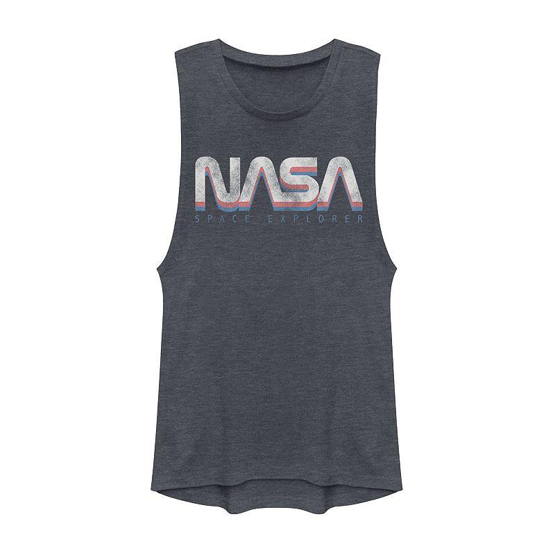 Juniors' NASA Space Explorer Retro Logo Muscle Tee, Girl's, Size: XXL, Blue