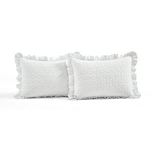 Lush Decor French Country Geo Ruffle Skirt Bedspread and Sham Set