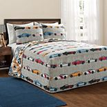 Lush Decor Race Cars Bedspread and Sham Set