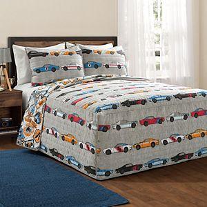 Lush Decor Race Cars Bedspread and Sham Set