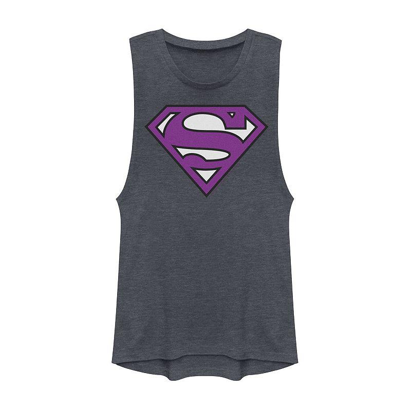 Juniors' DC Comics Superman Classic Logo Muscle Graphic Tee. Girl's. Size: XS. Blue