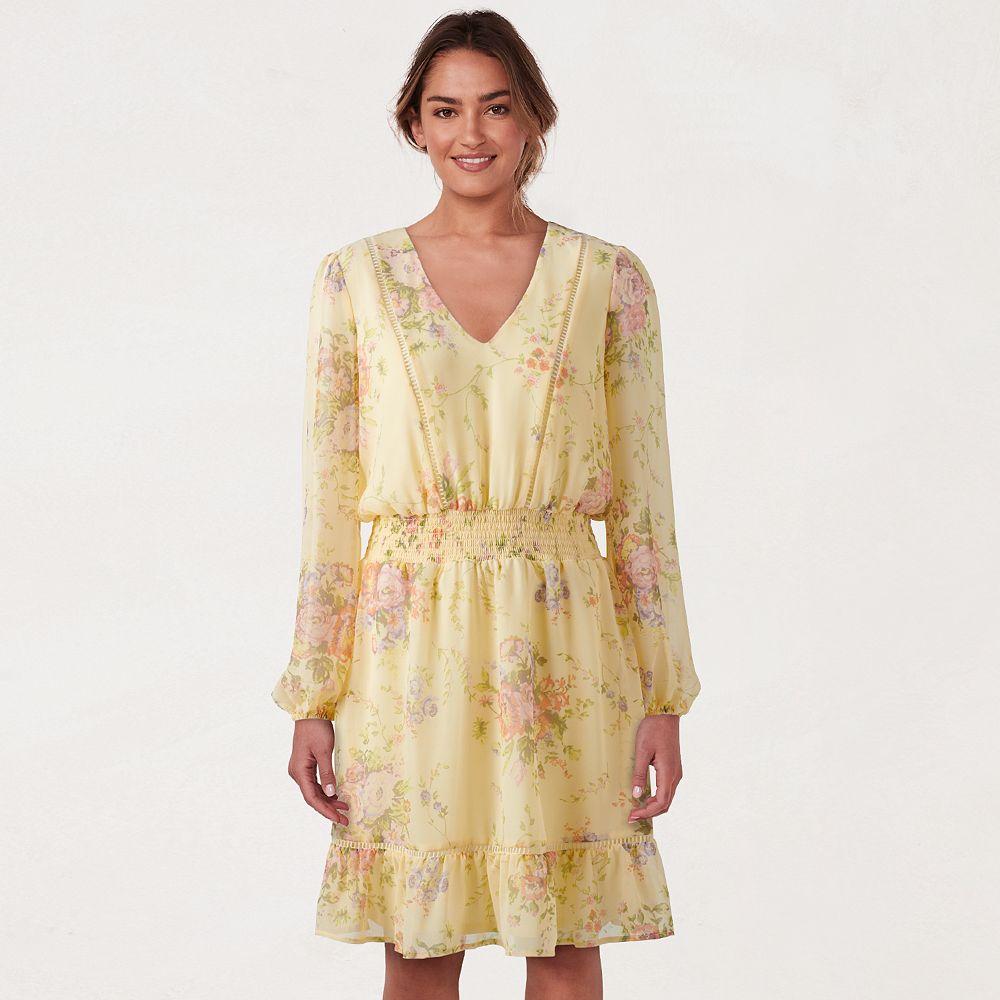 Petite LC Lauren Conrad Floral Flounce-Hem Dress