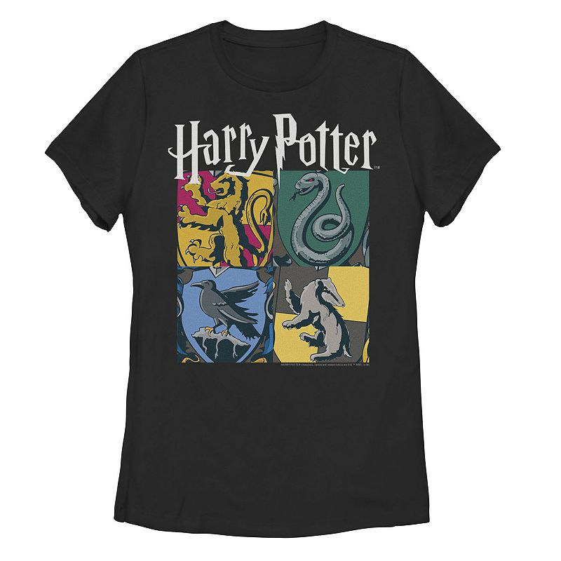 Juniors' Harry Potter Hogwarts Houses Graphic Tee. Girl's. Size: Small. Black
