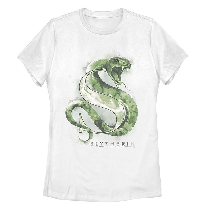 Juniors' Harry Potter Slytherin Watercolor Graphic Tee. Girl's. Size: Small. White