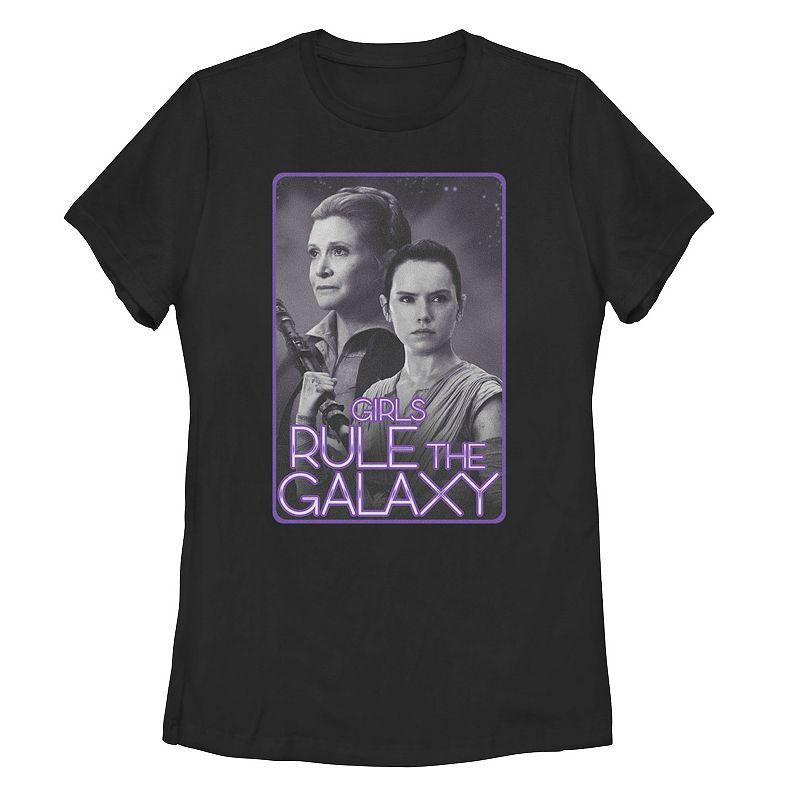 """Juniors' Star Wars General Organa & Rey """"Rule the Galaxy"""" Tee. Girl's. Size: Small. Black"""