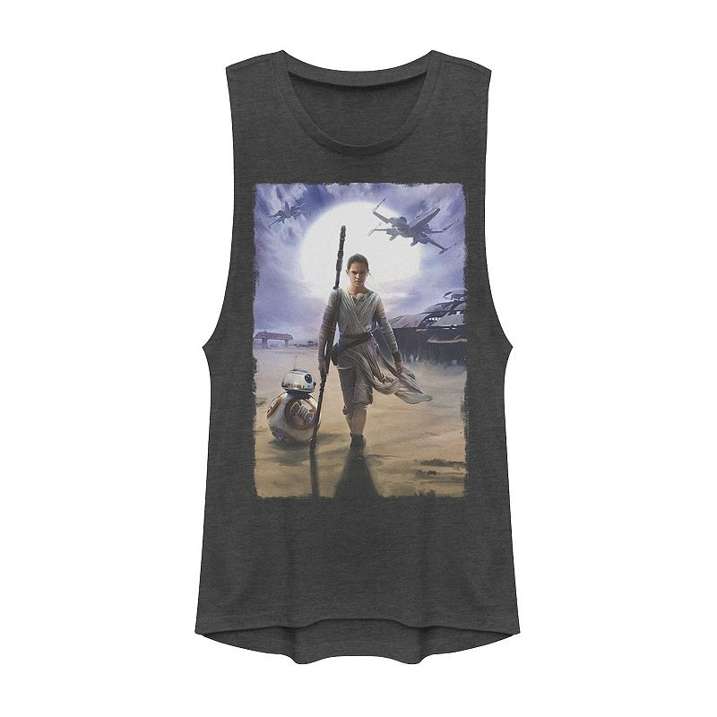 Juniors' Star Wars The Force Awakens Rey & BB-8 Painting Muscle Tee. Girl's. Size: XS. Grey