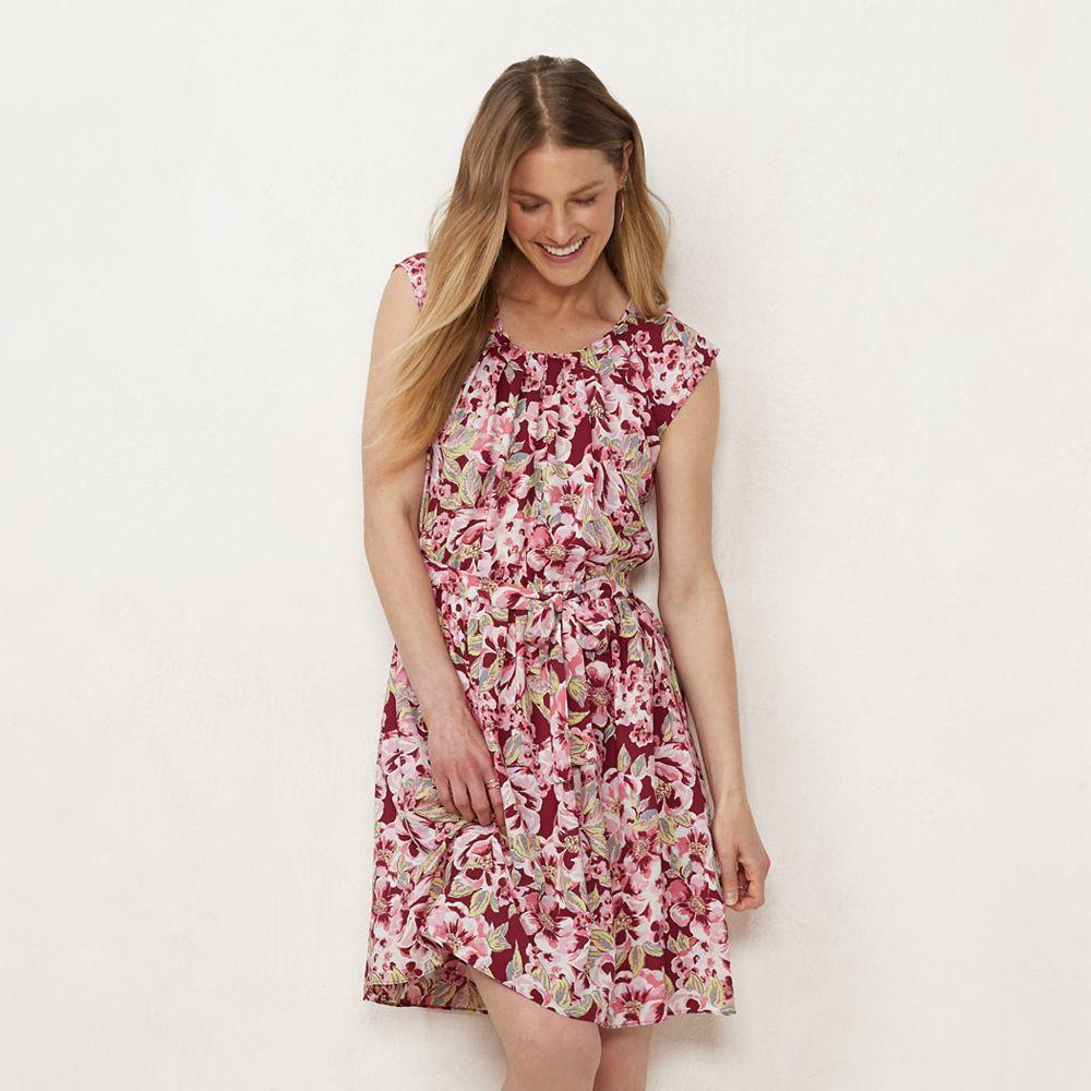 Petite LC Lauren Conrad Print Pleated Fit & Flare Dress