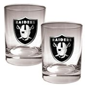 Oakland Raiders 2 pc Rocks Glass Set