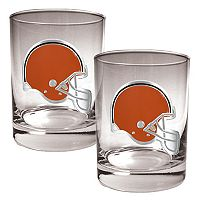 Cleveland Browns 2 pc Rocks Glass Set